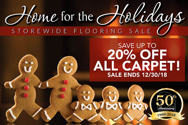 Save up to 20% off all carpet this month during the Home for the Holidays sale at Towne Pride Interiors in Hampstead!  Hurry, sale ends 12/30/18!
